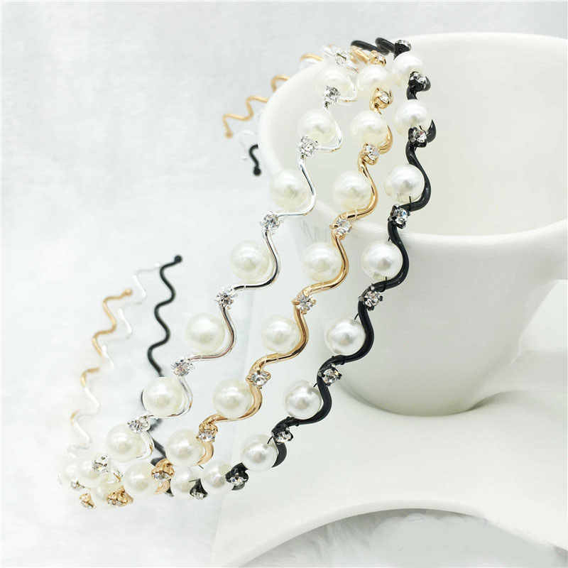 Fashion Crystal Rhinestone Pearls Wave Headband Hair Hoop Sweet Women Girls Head Wear Hair Style Tools Stretch Hair Accessories