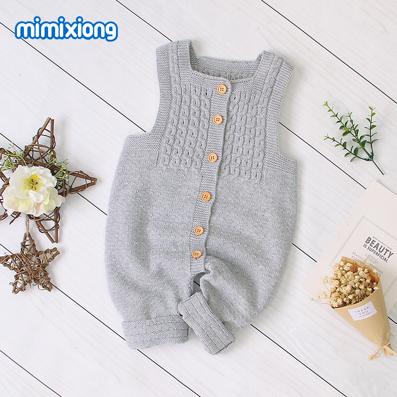 Baby   Rompers   Clothes Autumn Sleeveless Newborn Girls Jumpsuits Outfits Solid Knit Children Overalls Soft Toddler Boys Playsuits