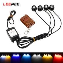 Leepee 4 em 1 led flash luz 12v aviso de emergência strobe carro águia olho luz controle remoto sem fio luz circulação diurna