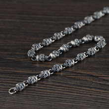 925 Sterling SIlver Chain Necklace Men Neck Skeleton Big Luxury Jewelry Vintage Neo Gothic Male Necklaces Punk Thick Silver 18 to 36 925 sterling silver skulls mens biker rocker punk necklace 8w004n