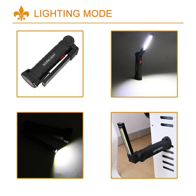 COB LED Tactical Flashlight USB Rechargeable Torch Waterproof Work Light Magnetic Lanterna Hanging Lamp For Night Lighting 4
