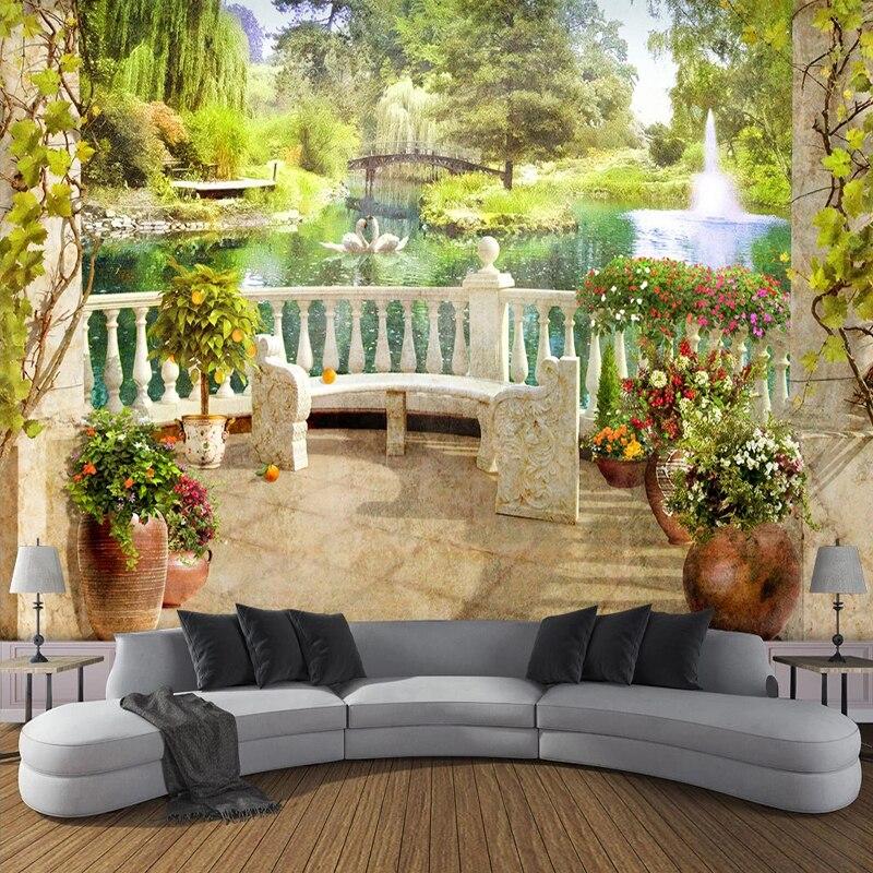 Пользовательские фотообои, 3D космический балкон, сад, пейзаж, настенная живопись, гостиная, столовая, спальня, водонепроницаемая роспись