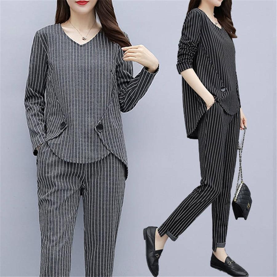 4XL 5XL Plus Size Tracksuit Two Piece Outfits Women Long Sleeve Top And Long Pants Fashion Stripe Print Women Set Sportwear