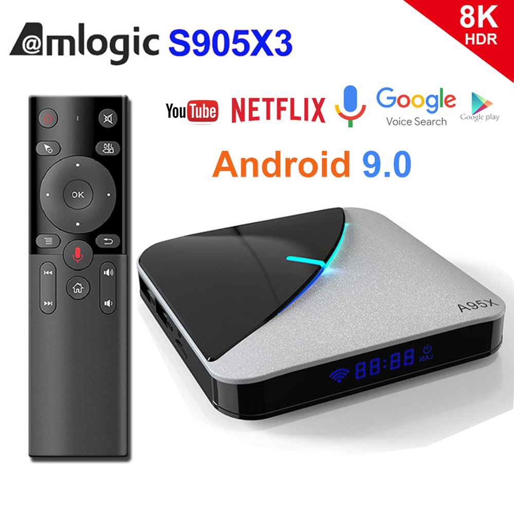 A95X F3 Air 8K RGB Light TV Box Android 9.0 Amlogic S905X3 4GB 64GB Wifi 4K 75fps Netflix Youtube Box Android tv Media player X3
