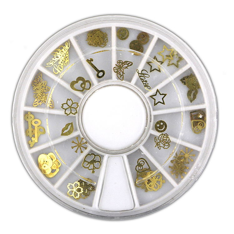 Foreign Trade Hot Selling Nail Ornament Metal Rivet Ultra-Thin Computer K Gold Piece Gold-Tone 12 Grid Round Plates Set Nail Sti