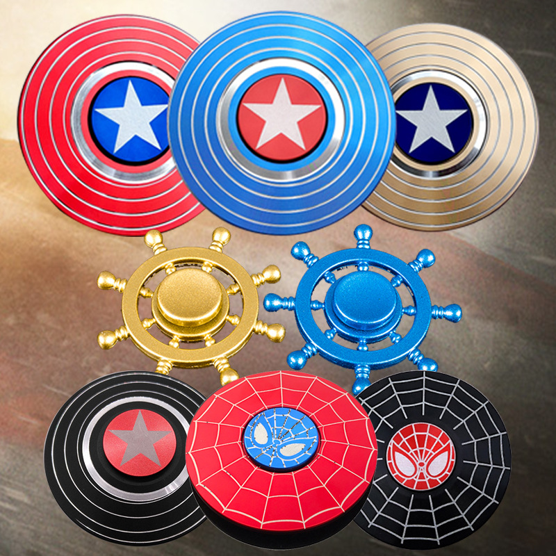 New Model Captain America  Stress Relief Toy Fidget Spinner Shield Aluminium Alloy Gyroscope