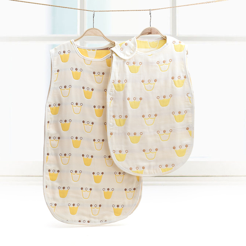 Children Sleepsacks Newborn Cotton 6layers Gauze Soft Skin Care Anti Kick Sleeping Bag Kids Organic Stroller Sack 45*80cm