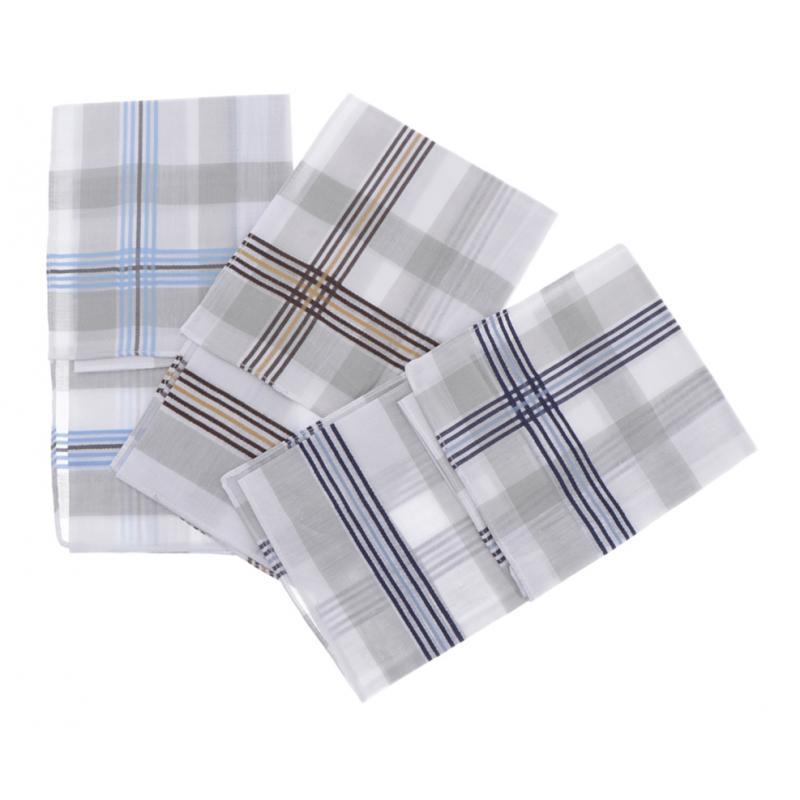 3 Pack Mens Plaid HANDKERCHIEFS Cotton Square Wedding Hanky Towel