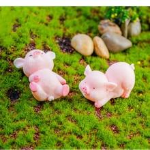 1/2/5PCS Cute Pink Pig Pigs Model Statue Figurine Crafts Figure Ornament Miniatures Girl Home Room Decoration