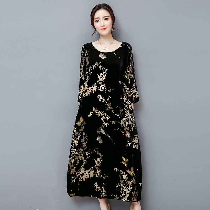 winter  black gold velvet dress  4