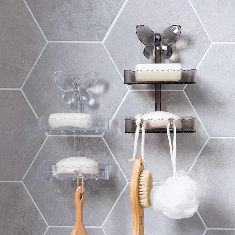 Bathroom Soap Dish Drain Shelf Storage Box Suction Double Hook Soap Rack Holder