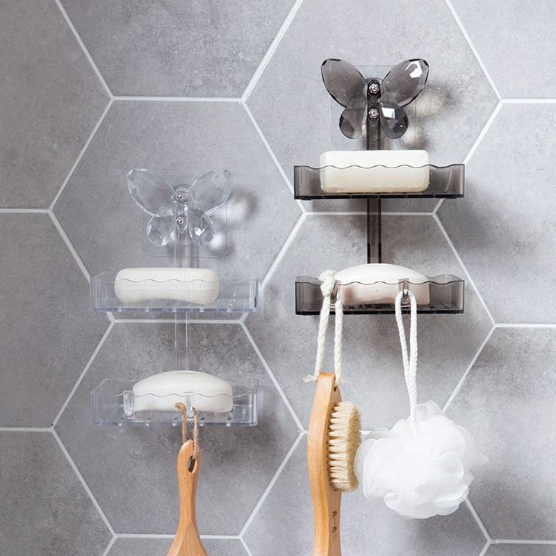 crystal double layers soap holder shower soap dish tray with hooks wall mounted soapbox bathroom shelf draining storage rack