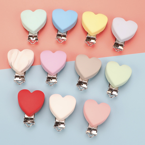 Image 1 - TYRY.HU 10pc/set Heart Love Pacifier Clip Silicone  Baby Teether teething Accessories Clip Non toxic Clasps DIY Bead Tool