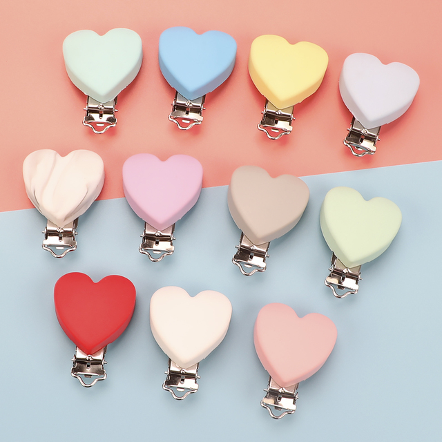 TYRY.HU 10pc/set Heart Love Pacifier Clip Silicone  Baby Teether teething Accessories Clip Non toxic Clasps DIY Bead Tool