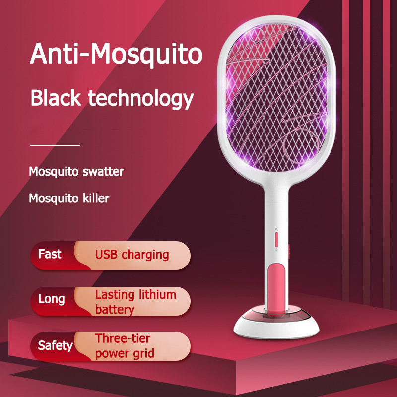 Rechargeable USB Electric Mosquito Swatter Insect Fly Handheld Racket Protect Swatter Fly Bug Killer Trap Zapper Household