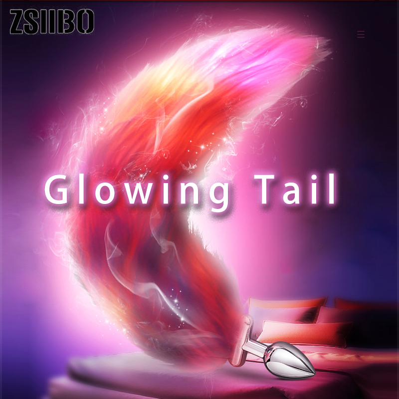 Illuminated Fox Tail Anal Toys Plush Silica Gel Anal Plug Jewelry Dildo Vibrator Cosplay Tail Homosexual Sex Toys for Woman