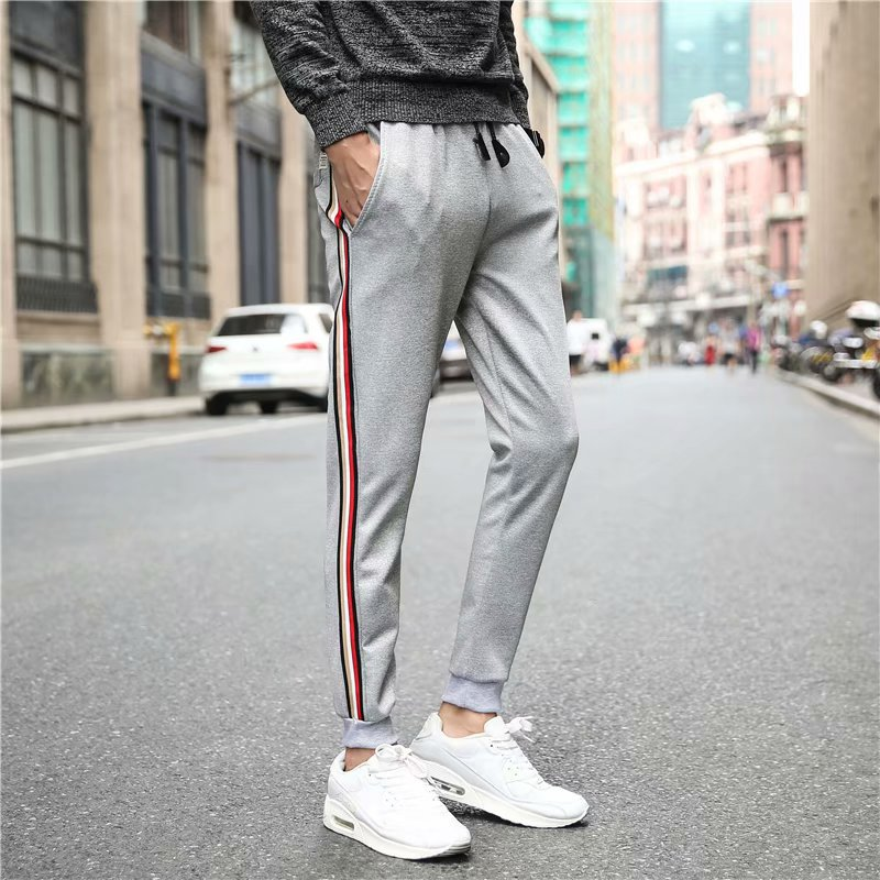 Capri Pants Men's Summer Teenager Thin Casual Harem Pants Men's Korean-style Skinny Pants Trend Students Ankle Banded Pants