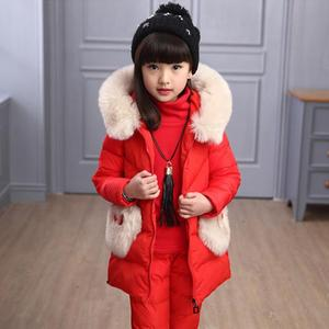 Image 2 - Winter 3 piece Set Girls Children Clothing Warm Parka Down Jacket Girl Clothes Childrens Coat Snow Wear Suit Winter Jacket Coat