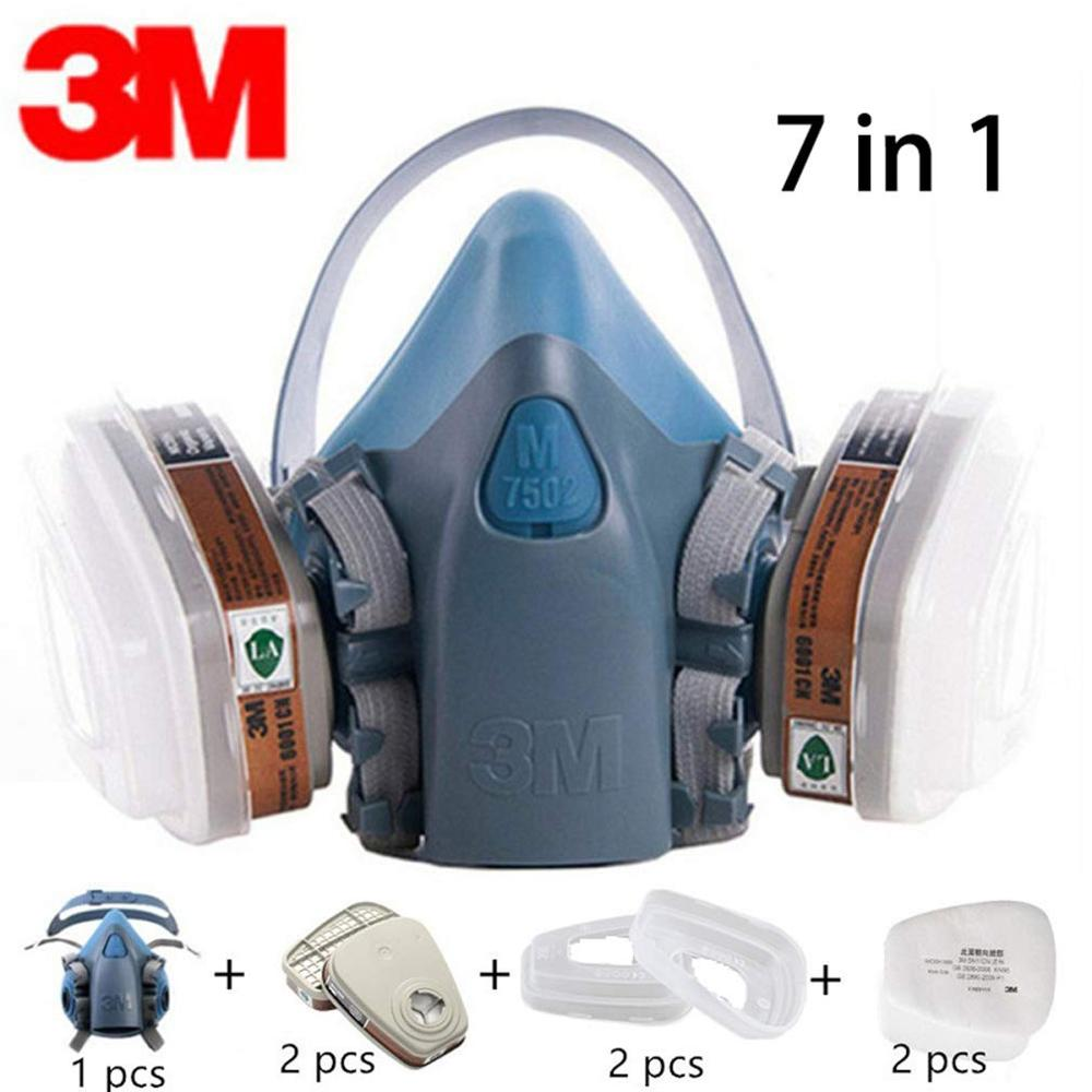 3M 7 In 1 7502+6001CN  KN95 Respirator Mask Suit Painting Pesticide Organic Steam Respirator Anti- Dust Wind Protective Mask