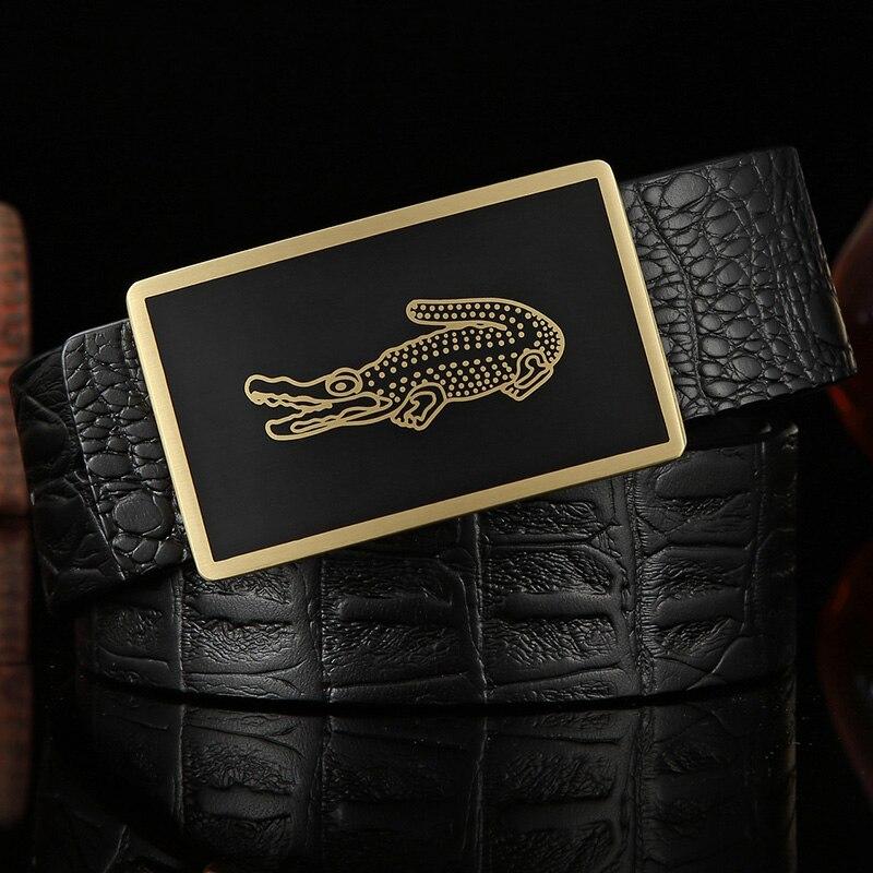 Image 5 - Mens Belt Cow Leather Belts Brand Fashion Solid Brass Smooth Buckle Black Genuine Leather Belts for Men Jeans Business 3.8cmMens Belts   -