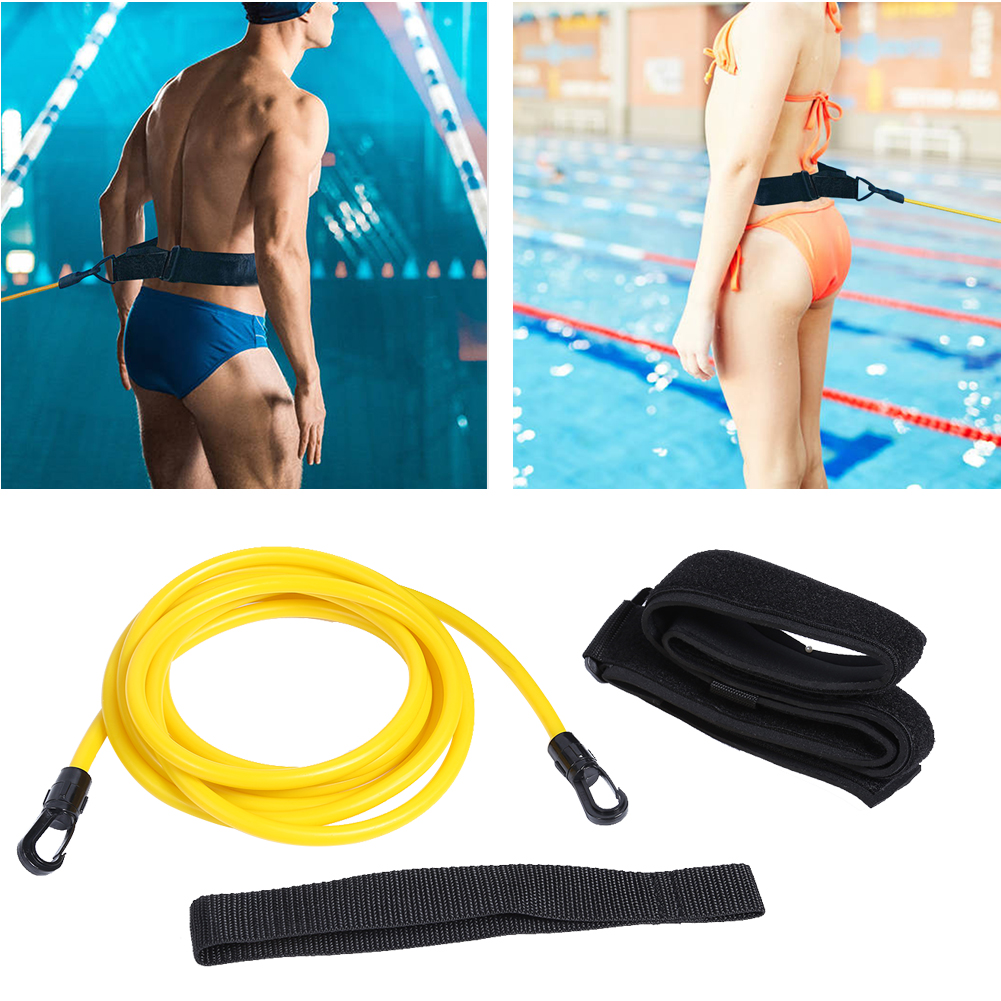 Swimming Training Resistance Elastic Belt Water Trainer Traction Safety Rope Latex Tubes Adjustable Outdoor Exerciser Elements