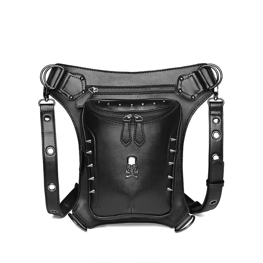 Norbinus Steampunk kafatası çanta erkekler motosiklet bel kemeri çantası çok fonksiyonlu damla bacak paketleri Punk Moto Biker kadın Crossbody çantası 048
