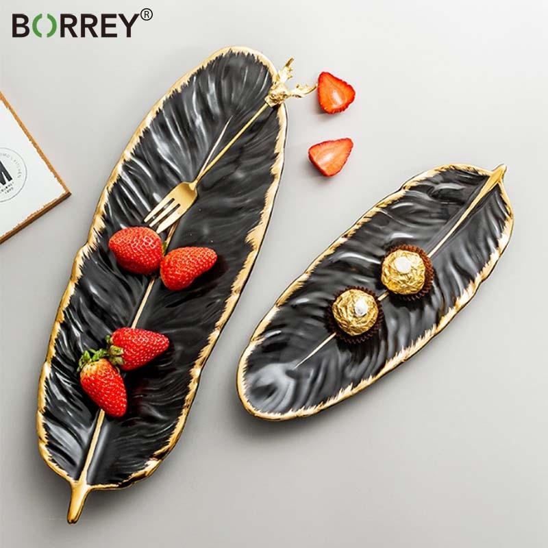 BORREY Ceramic Platter Storage Tray Sushi Plate Leaf Feather Shape Candy Trinket Jewelry Fruit Serving Tray Storage Tableware