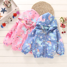 Baby Girls Jackets Spring Unicorn Baby Jackets Clothes For Boys Windbreaker Coats Kids Clothes Outerwear Baby Children Clothes cheap Fashion COTTON Polyester Solid REGULAR Hooded Outerwear Coats Full Fits true to size take your normal size Heavyweight