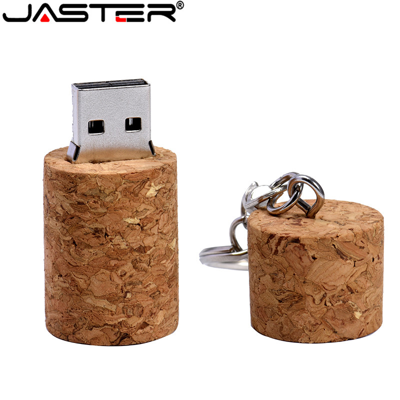 JASTER Natural Cork+key Chain Model 64GB Flash Drive 4GB 8GB 16GB 32GB Pendrive USB 2.0 Usb Stick Best