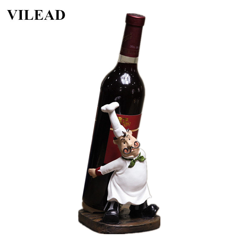 VILEAD 21cm Resin Mustache Chef Back Wine Rack Figurines Creative Restaurant Ornament People Gift European Crafts Home Decor