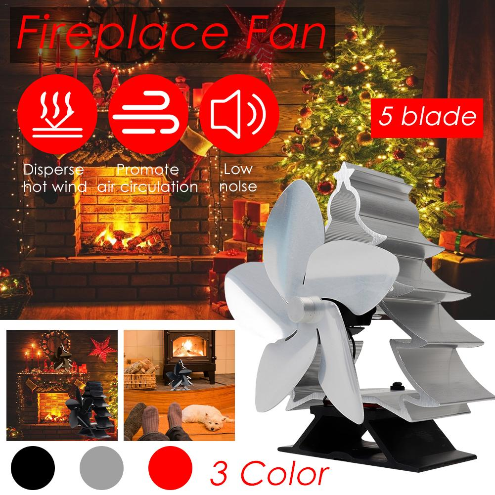 Heat Powered Fireplace Fan​ Christmas Tree Shape Wood Burner Energy Saving Stove Fan Efficient Heat Distribution