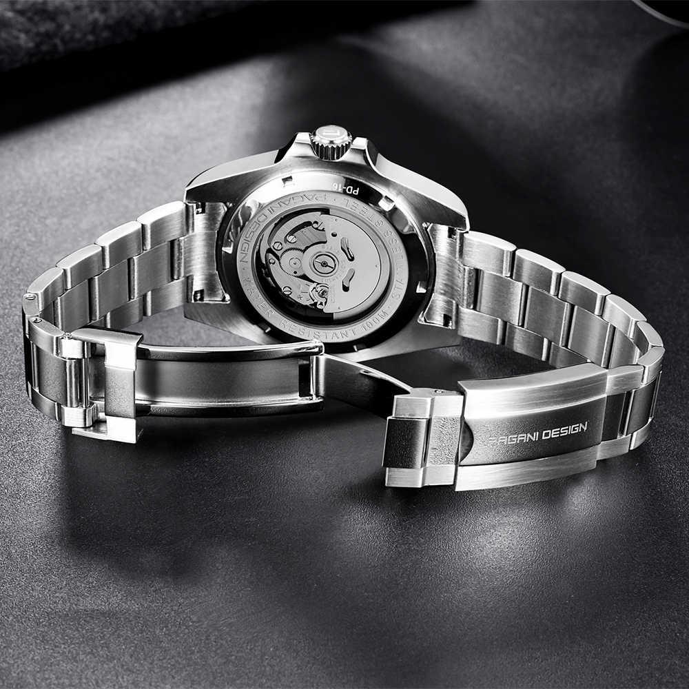 パガーニデザインのメンズ腕時計自動サファイア高級機械式腕時計ステンレススチール防水時計男性レロジオmasculino