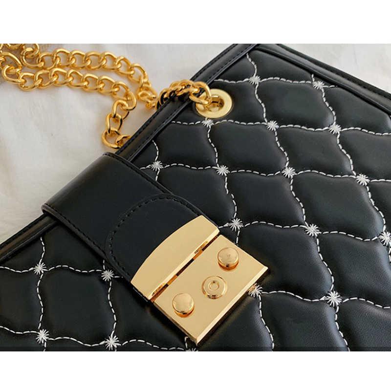 Mewah Tas Tangan Wanita Tas Kulit Desain Rantai Besar Tas Bahu Tote Tas Tangan Fashion Tas Selempang untuk Wanita 2019