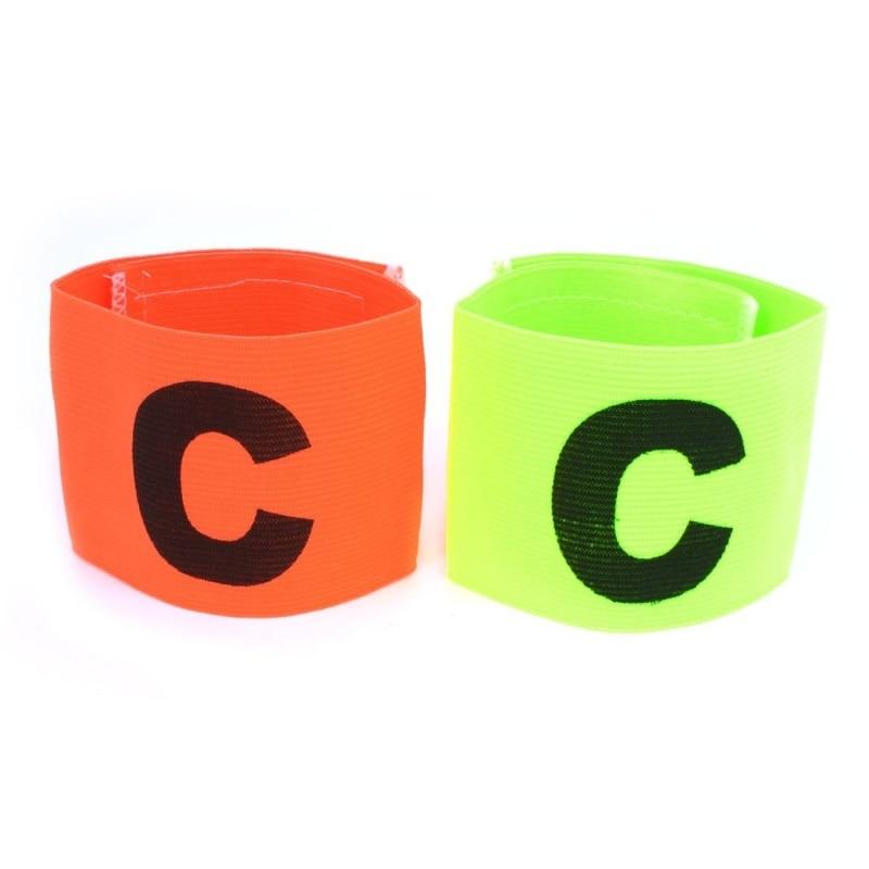 2 X Buckle Orange Green Elastic Soccer Captain's Arm Band