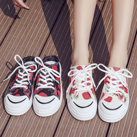 2020 High Quality Women Canvas Shoes Comfortable Vulcanize Sneakers Casual Half Slippers Strawberry Print Tenis Feminino W31 64