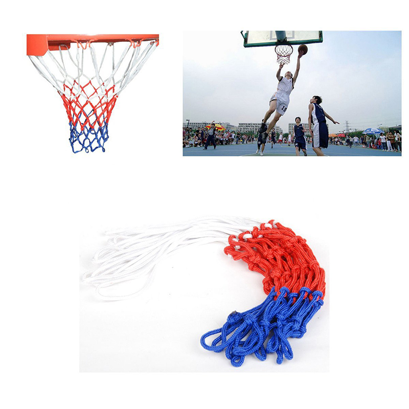 Standard 12 Hoop Durable Nylon Basketball Goal Hoop Net Red/White/Blue Thread Sports Basketball Hoop Mesh