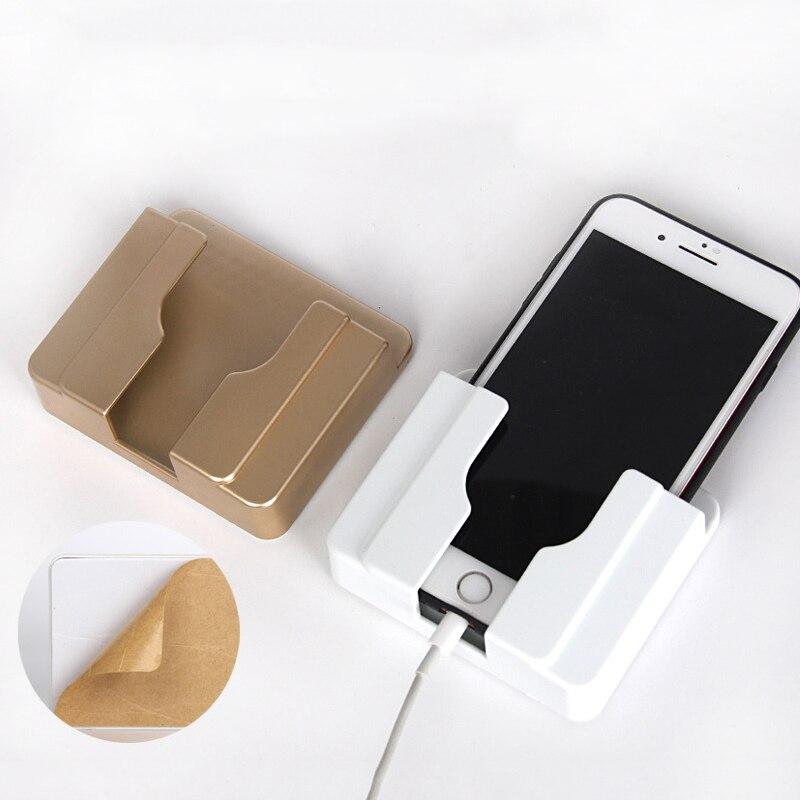 Multifunction Home Mobile Wall Mount Stand Adhesive Durable Socket Phone Charging Holder Bracket Shelf Practical Hotel Universal