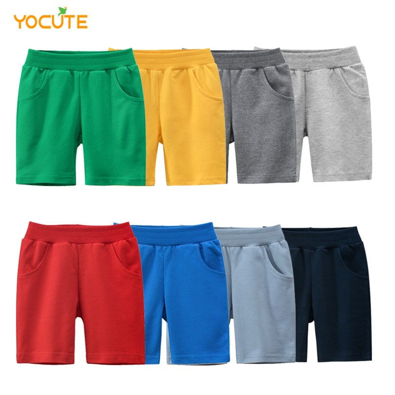 Новинка, летняя детская одежда, Короткие штаны для маленьких мальчиков, эластичные штаны из чистого хлопка с карманами и мультяшным ди…