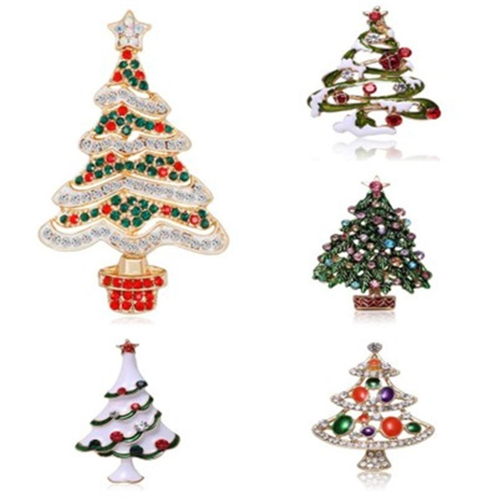 Стразы с украшением в виде кристаллов рождественские броши в виде дерева для женщин модные изысканные, булавки, подарок, платье-свитер аксе...