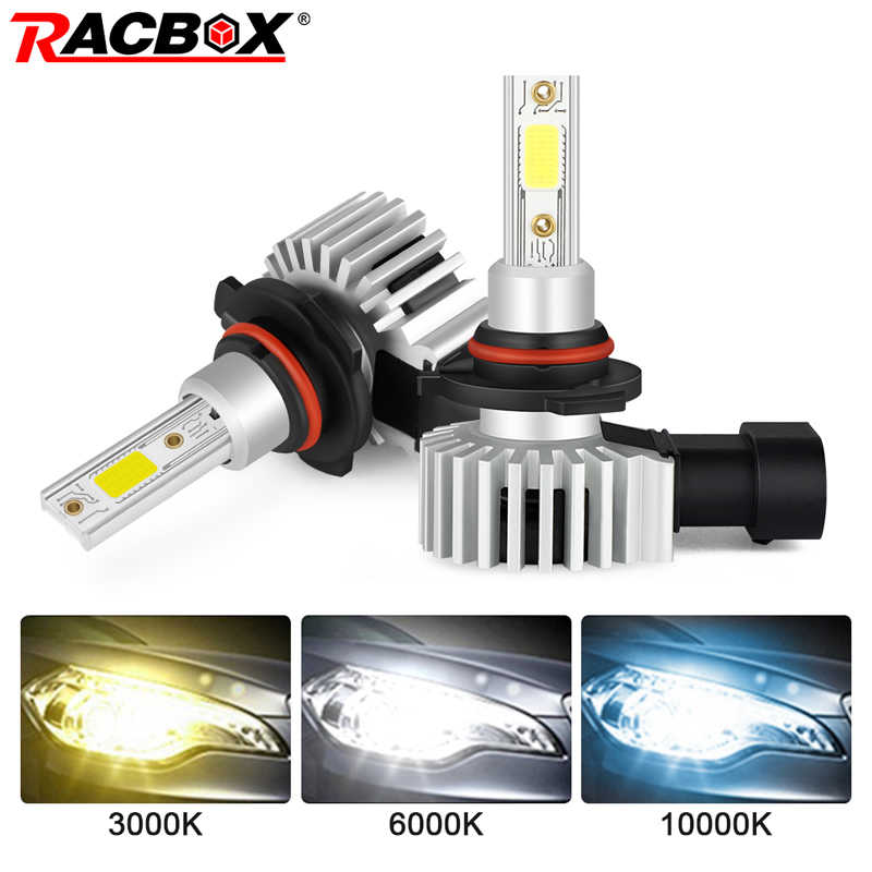 Racbox 2 Pcs H4 H1 H3 H7 H11 H8 H9 H27 880 881 9005 HB3 9006 HB4 LED Headlight Bulbs 72W 10000LM Mobil Styling 3000K 6000K 10000K