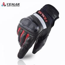 VEMAR-guantes para carreras de motos para hombre, guantes de cuero para motocicleta, resistentes al desgaste, con dedos completos, resistentes y transpirables