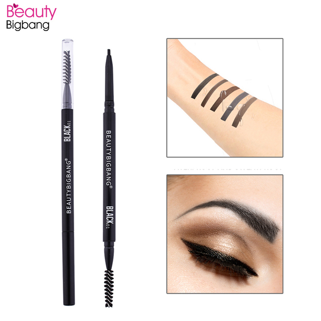 Beautybigbang Waterproof Eyebrow Pen Natural Four-claw Eye Brow Tint Makeup Pencil Brown Black Grey Double Brush 2