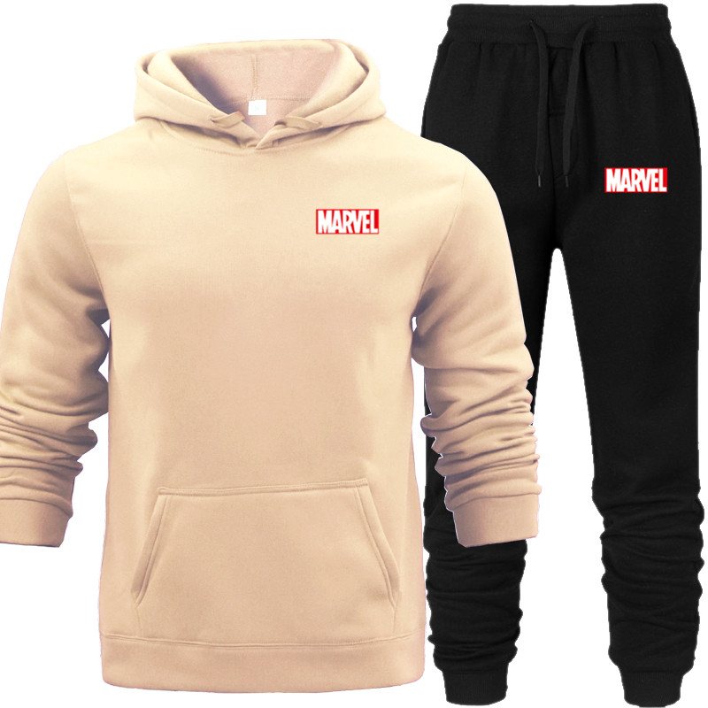 Winter Hoodies Set MARVEL Tracksuit Men Street Joker Fall Sweat Hood Long Pants Fleece Pullover Tops Jacket
