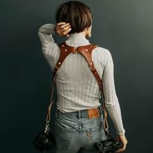 Powstro 本革カメラショルダーストラップ調節可能一眼レフシングルダブルローズアンビルインドアールハーネスキヤノンアクセサリー