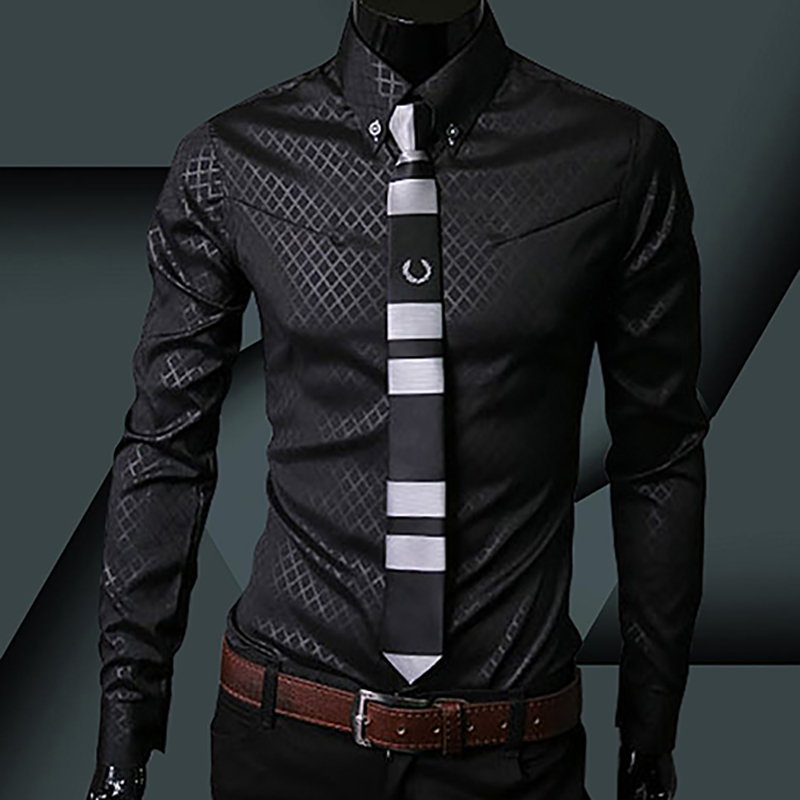 New Argyle luxury men's top Formal Social Business Style Slim Soft Comfort Long Sleeve Casual Dress Tops Gift For Men Clothing 2