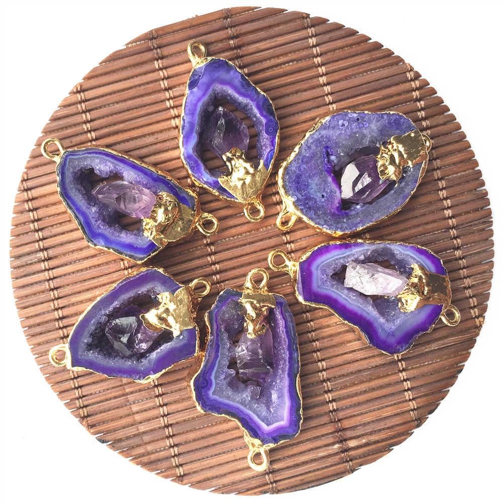 Natuurlijke Paarse Agaat Slice Hanger Amethisten Connectors Gold Onregelmatige Raw Druzy Natuursteen Hangers Voor Sieraden Maken 6 Pcs