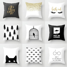 Pillow case 45*45 New black and white simple printed pattern polyester pillowcase Square decorative pillowcase creative parrot pattern square shape pillowcase without pillow inner