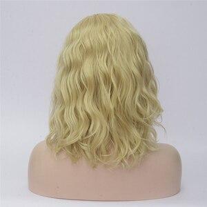 Image 3 - VICWIG perruques Cosplay synthétiques bouclées pour femmes, cheveux courts, bleus, violets, roses, verts, dorés, jaunes, en Fiber résistante à la chaleur
