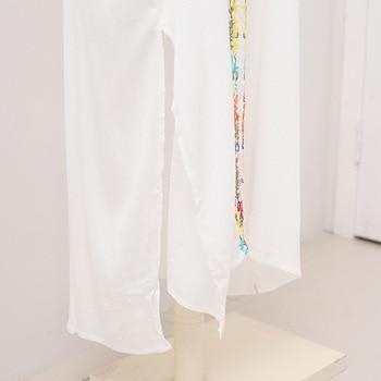 Europe And America Cotton Wrinkle Embroidery Long Skirts Turkey Robe-like Beach Skirt Women's Full Body Dress sha tan yi