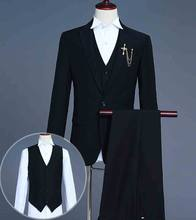Mens Suit White Black Red Blue Prom Tuxedo Groom Groomsman Wedding Suit Singe-Button Blazer Coat+Pants+Vest For Men Plus Size(China)